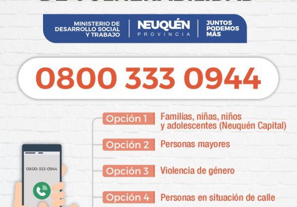Provincia habilitó un 0800 para la atención de personas en situación de vulnerabilidad social